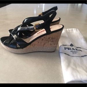 Prada Patent Leather Wedges (Worn Once) Size 39